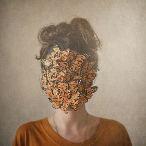 Butterflies in the face.