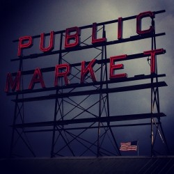 #publicmarket #pikeplace #seattle #market #northwest #sign #clouds #washington #rain #instagood #igseattle #ignation #iphone4 #city #urban #citylife #travel #usa #northamerica  (at Pike Place Market)