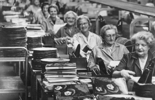 theswinginsixties:  Ladies in a factory, putting together copies of The Beatles' 'Rubber Soul', 1965.