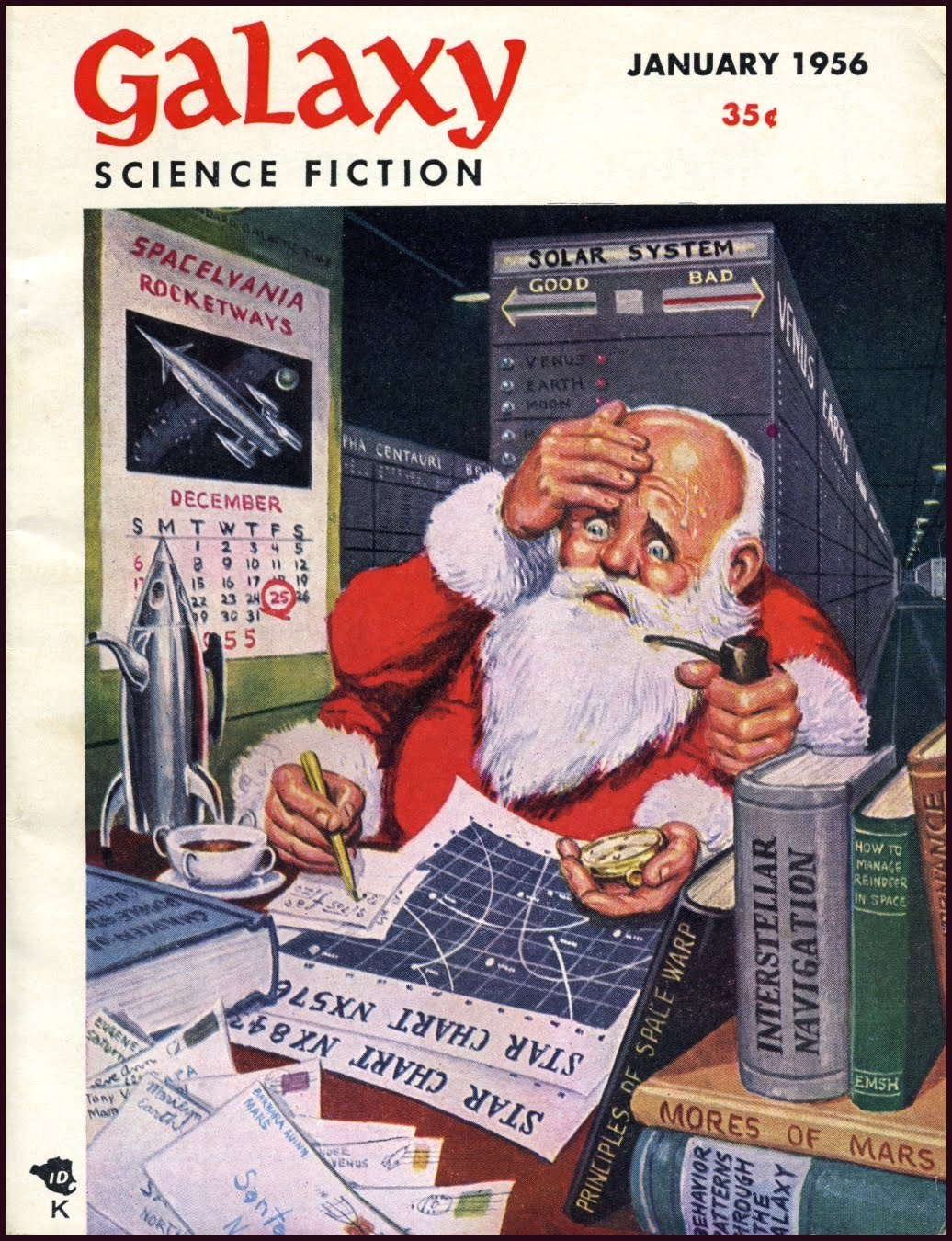 "Four-armed Santa. Galaxy Science Fiction, January 1956. Santa needs four arms and a faster mode of transportation as he expands his coverage area. Spending way too much time researching in his books and maps. The deadline approaches. Definitions of ""naughty"" and ""nice"" are tricky. Luckily, he has the new issue of ""Behavior Patterns Through the Galaxy."""