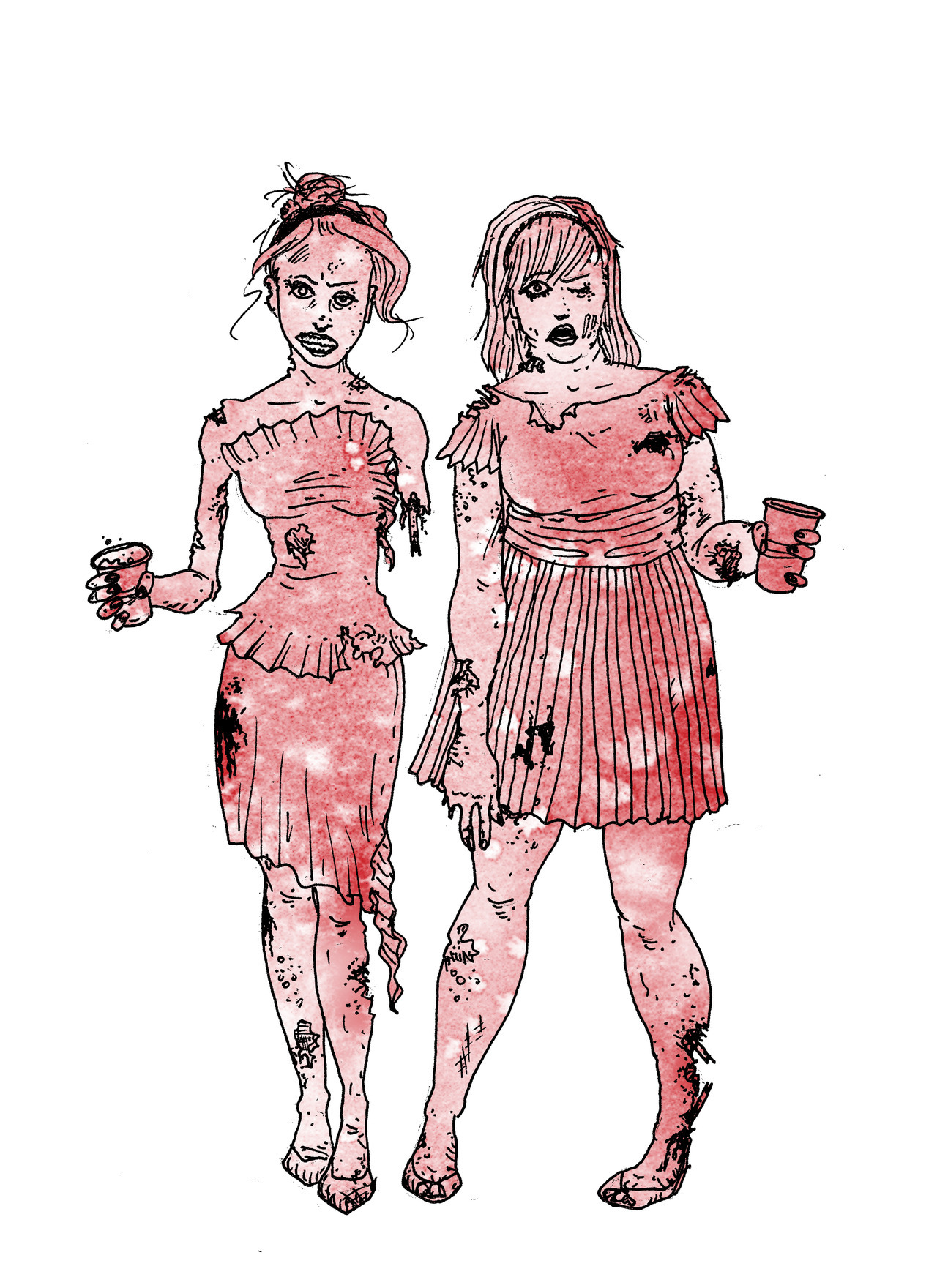 Zombie Bridesmaids. All the single ladies. All the single ladies.  A Halloween party invitation for a friend in D.C. Starting at $17.50 Original art and writing © Jasey M. Crowl 2012 #zombiebridesmaids jaseycrowl.com & yourecolor.com