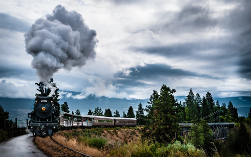 The Kettle Valley steam train coming down the tracks in Summerland, British Columbia, Canada.