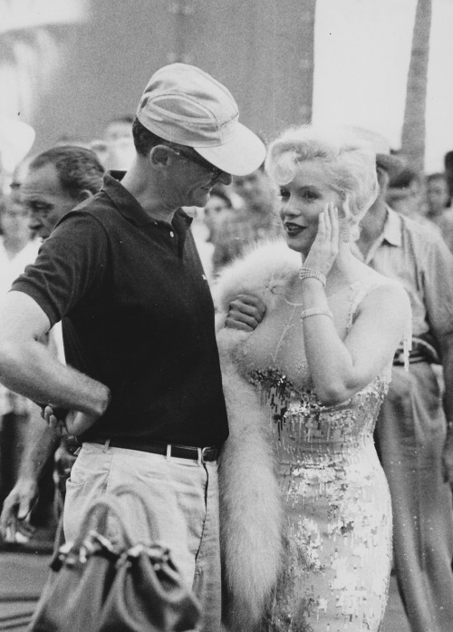 Marilyn Monroe and Arthur Miller on the set of Some Like It Hot