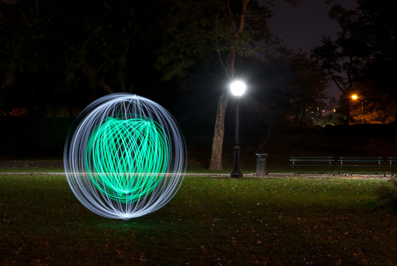 An Orb in Central Park on Flickr. I met up with a fellow light photographer in the city last night to try out some new toys. Orb tools v1.0 need some revisions but the construction is pretty sound. I can incorporate those changes into the rest of the series. Good thing I only made two so far. I also need a stronger wrist and to practice my spinning technique a bit more.