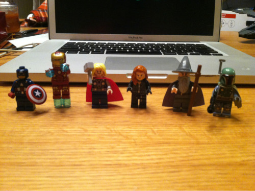 The Avengers as I remember. Captain America, Ironman, Thor, Black Widow, Gandalf, and Boba Fett. I may be confused.