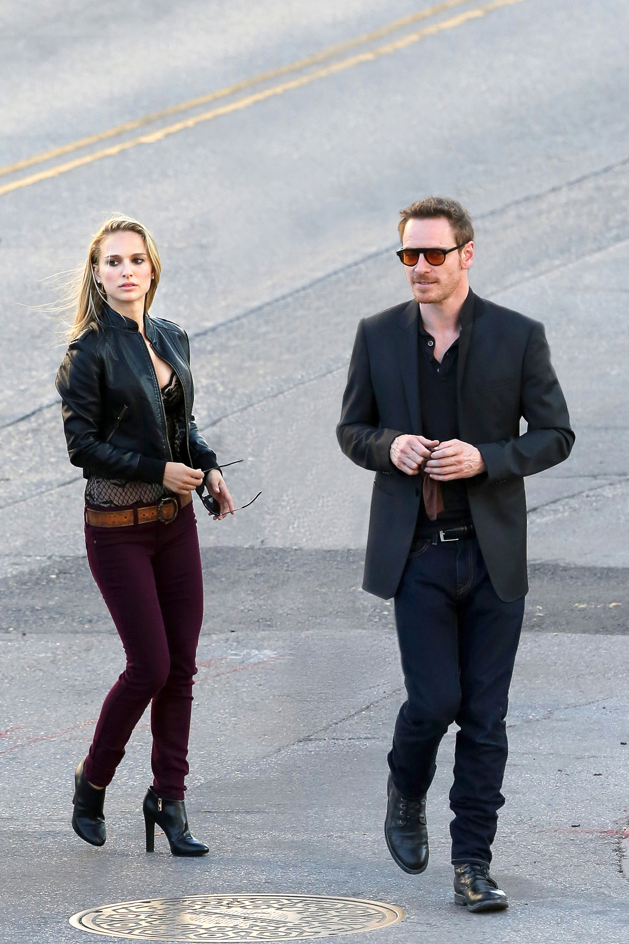 suicideblonde:  Natalie Portman and Michael Fassbender on the set of the untitled Terrence Malick project in Austin, October 20th