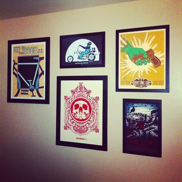 Finally started hanging some of my prints tonight! #danmumford #johnnycupcakes #hydro74 #ETID #jordanbuckley