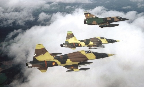 Two Spanish Northrop F-5s in formation with a Belgian Dassault Mirage III, 1980s