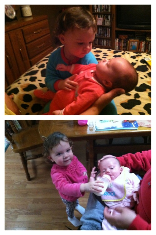 Big Sis feeding Little Sis, Sooo adorable, Cutest kids ever.