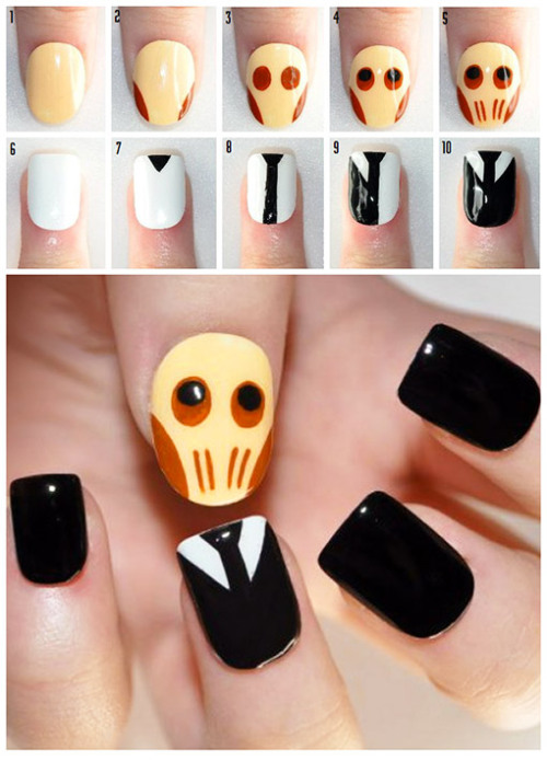 Beauty Geek: How to create 'Doctor Who' The Silence nail art | PopStyle Click through for instructions