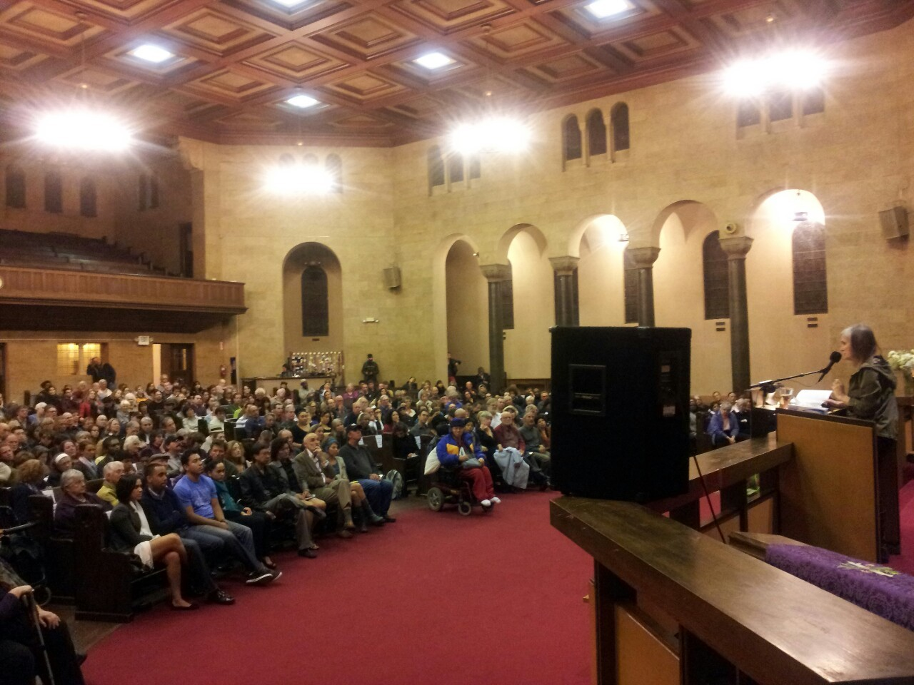 Amy Goodman speaking to a packed house at the KPFA benefit in Oakland, celebrating the first Pacifica station.