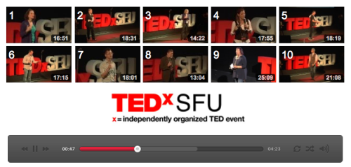 TEDXSFU 2012 VIDEOS ARE NOW UP!  Put aside 3:00:25 hours of your time to soak in the wisdom of 10 talented TEDxSFU speakers. You won't regret it.
