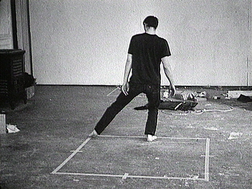 Dance or exercise on the perimeter of a square (square dance) 1967-68, Bruce Nauman