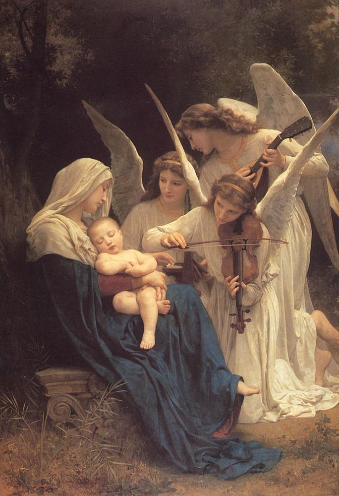 Virgin of the Angels (1881). Adolphe-William Bouguereau (French, 1825–1905). Oil on canvas. Getty Center.  This life-size painting, a serene vision of angels serenading the sleeping Jesus in the arms of a graceful young Mary, is one of the most important works by Bouguereau in the US. Chief paintings conservator Mark Leonard spent months studying, cleaning, and restoring. He removed the old varnish that was dirtying the angels' wings and yellowing Mary's blue cloak, revealing the clarity of the original colors
