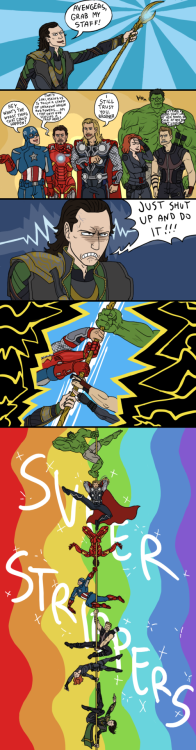 equitismortis:  Strippers Assemble from sparkyHERO  Finally saw the Avengers tonight, although I feel like I'd seen most of it anyway cause of Tumblr.  But now I can look at the Avengers tag and get the jokes.