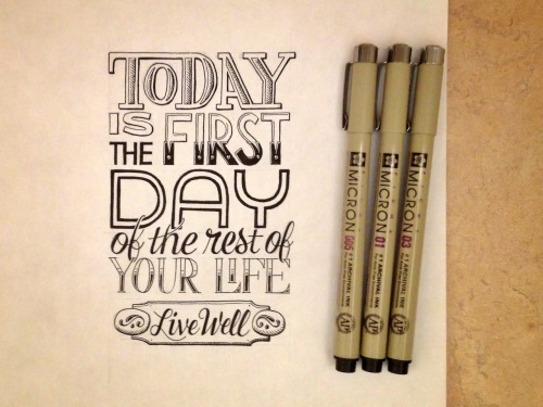Today is the first day of the rest of your life. Live well.