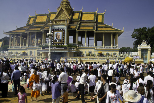 Cambodia - Mourning King-Father Norodom Sihanouk, a set on Flickr. Some photos outside the Royal Palace in Phnom Penh, Cambodia