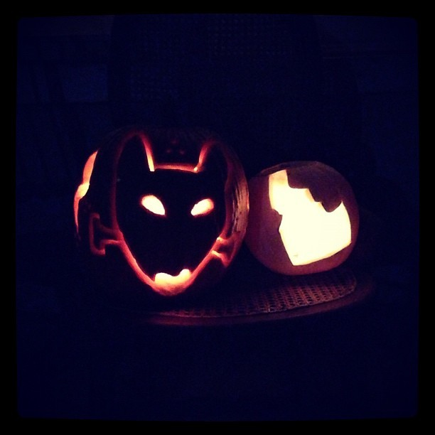 Me and @kristinaduncan kickin ass at pumpkin carving. #idaho #bullie #bullterrier #pumpkin #october