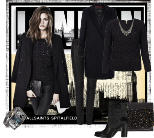 Allsaints, All the Way! by queenranya featuring art deco rings ❤ liked on PolyvoreAllSaints pullover sweater / AllSaints double breasted coat / AllSaints leather pants / AllSaints heel boots / AllSaints clutch purse / AllSaints art deco ring / AllSaints coin jewelry / Look #01 / London Print 8 x 12 inch Collage Mixed Media Printe on old Dictionary…