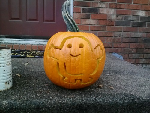 cakelovingfangirl:  My super awesome Adipose pumpkin. There are several Doctor Who pumpkin templates online. I'm attempting to carve a TARDIS next.  Doctor Who Pumpkins for Wholloween