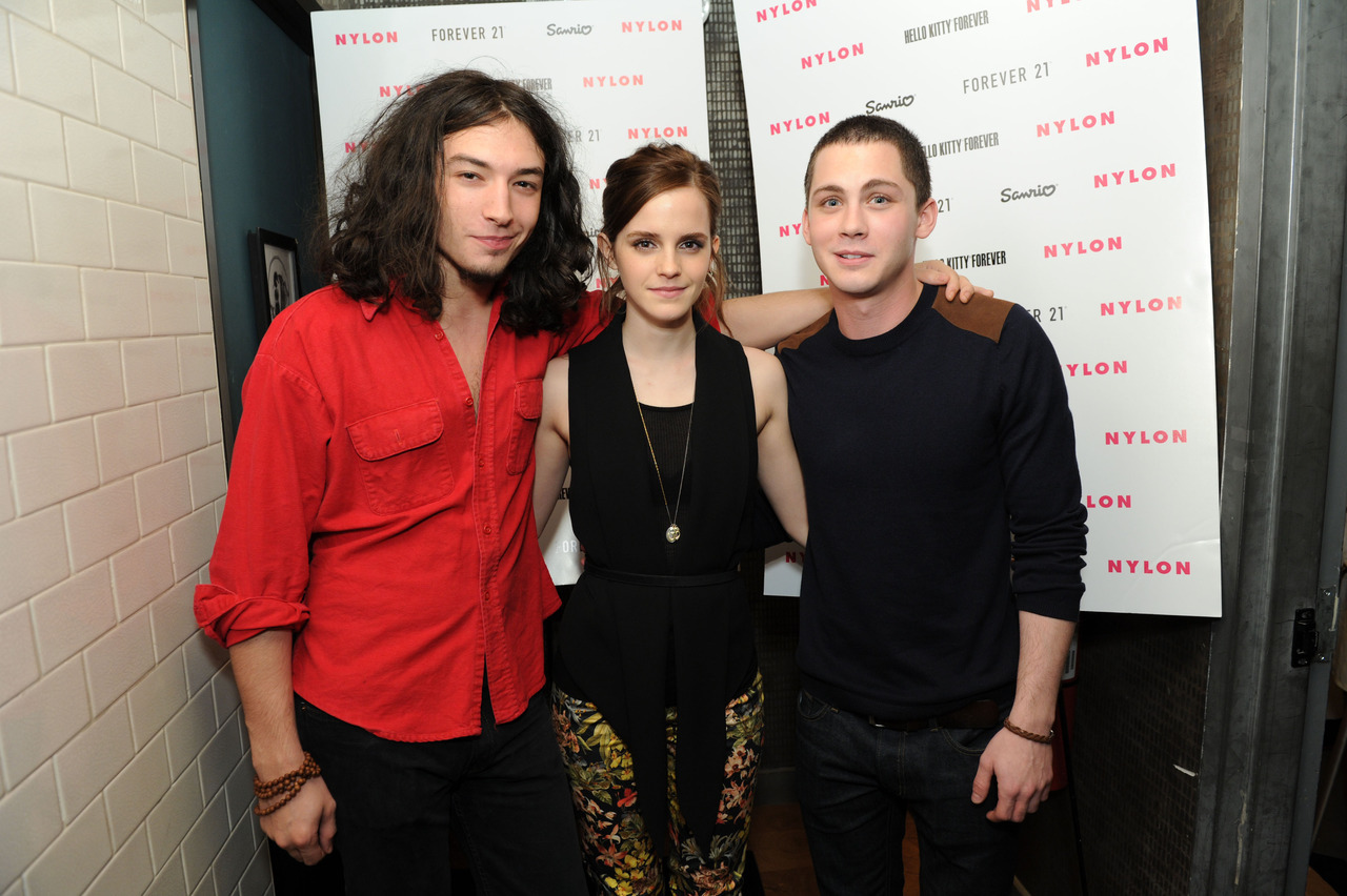 Ezra Miller, Emma Watson and Logan Lerman at the Sanrio and Hello Kitty Forever Celebration in NYC, October 20th