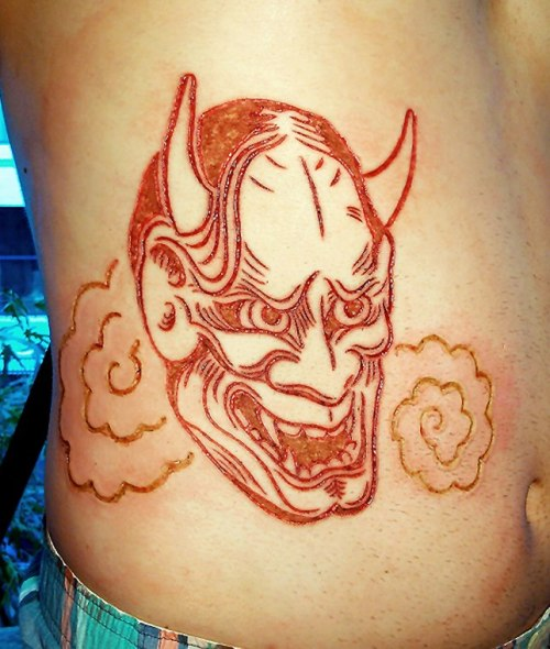 briandecker:  Cutting/ESU/hyfrecator Hannya scarification piece done by Brian Decker of Pure Body Arts.  Thanks to Lalo Yundo for help with the design.