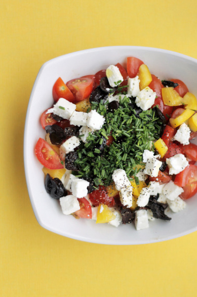 Greek salad with Feta, Tomatoes and Yellow Peppers by Salad Pride on Flickr.
