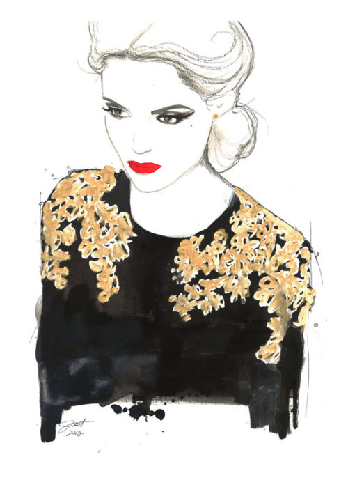 ilovebeingalady:  Original watercolor and pen fashion illustration by Jessica Durrant titled, All that glitters is not gold