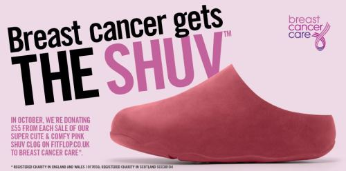 Breast Cancer gets the SHUV all October as FitFlop headquarters in London donates 55 GBP from each sale of their SHUV Clog. This footwear not only puts a smile on your face and helps alleviate aches and pains, the entire FitFlop collection for men and women help tone with every step. We can't help but love this footwear that takes a firm stance in helping to find a cure for breast cancer. Wear the Shoes. Rule the World.
