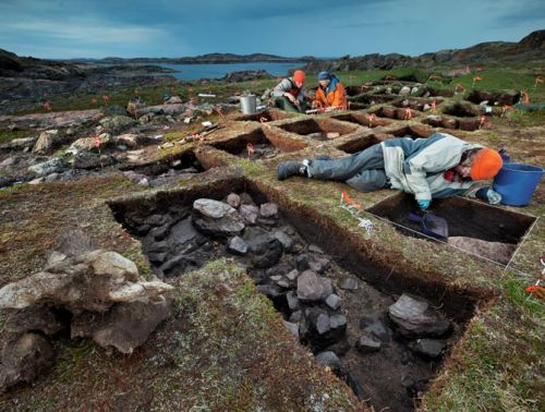 mediumaevum:  Following a subtle trail of artifacts, a Canadian archaeologist searches for a lost chapter of New World history. Unearthing what she believes to be a Viking outpost, archaeologist Patricia Sutherland (in orange jacket) and her colleagues work in Baffin Island's Tanfield Valley, which offered turf for sod shelters and a harbor for ships. On Baffin Island, archaeologists discovered cordage made the Viking way, as well as other evidence of European contact. Did Vikings use these notched sticks to record trade transactions? Patricia Sutherland thinks so. Whetstones discovered on Baffin Island and at other sites in the Canadian Arctic bear clear evidence of Viking technology. Wear grooves harbor traces of bronze, brass, and smelted iron—materials made by Viking metal smiths but unknown among the Arctic's native inhabitants. Photo by David Coventry