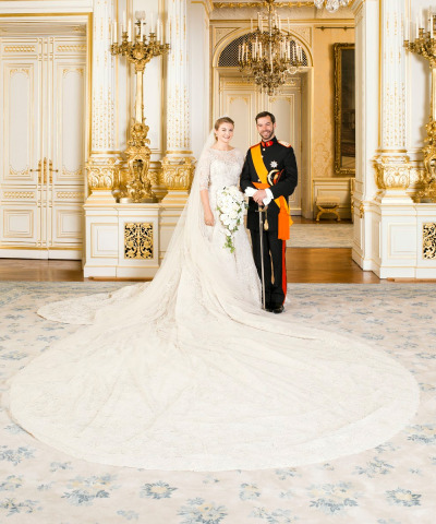 Princess Stephanie looks absolutely stunning in her Elie Saab wedding gown.