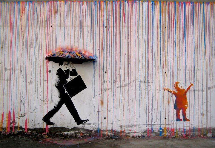 A sweet take on the rain effect with dripping paint by Skurktur (www.facebook.com/skurktur or www.skurktur.com) from Norway. Its the contrast of the stern adult and the playing child that makes it work!