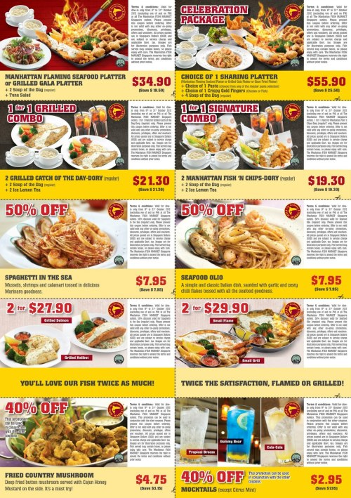 Enjoy discounts @ Manhattan Fish Market with these coupons! Simply flash or print out the coupon that you wish to redeem. Only valid until 31 Oct 2012. Terms & conditions as stated on the coupons are applicable.