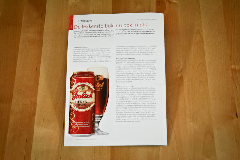 Koninklijke Grolsch Internal corporate magazine Redesign of cover and layout A5 | 24 pages 2012 Van Eck Ontwerpers