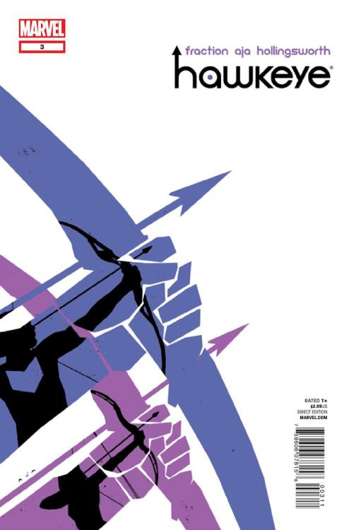 THIRD EYE PICKS, IN STOCK NOW: HAWKEYE #3 — The new HAWKEYE ongoing series from MARVEL has been one of the freshest, most kick-ass new series we've seen this year, and issue #3 takes things to even greater heights!  Matt Fraction and David Aja, collaborators on the cult classic IMMORTAL IRON FIST, have reunited to bring a gritty, almost avant-garde take to the Avenging Archer, as they plunge Clint Barton deep into the Marvel Universe's criminal underworld.  Acting as a modern day Robin Hood, and handling very down-to-earth, everyday kind of crime, the new HAWKEYE series combines the bravado of the famed Avenger with the gritty, street-level realism of something like 100 BULLETS, Bendis's DAREDEVIL, or ALIAS.  Aja's art is INCREDIBLE, and is very reminiscent of David Mazzuchelli on BATMAN YEAR ONE, which makes a perfect compliment to Fraction's storytelling. I can't recommend this one enough, folks! Get into it! Wanna get caught up? We've got issues 1-3 in stock now!