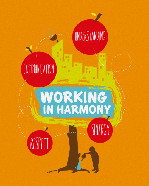 Working in Harmony tee design for indosat