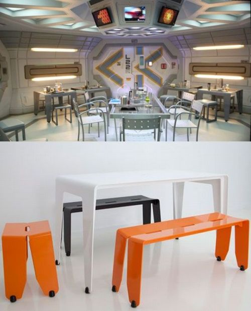 "Prometheus features custom created furniture by Brisbane Designer Jason Bird of Luxxbox Designs. Bird's custom created tables from his 'Brainwash' series appear in the one of the early scenes of the film in the ""Crew Dining Hall"" onboard the Prometheus spaceship."