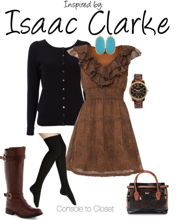 Issac (Dead Space) by ladysnip3r featuring kitten heels This outfit is inspired by Isaac Clarke of Dead Space. I really wanted to capture the brown and black color and texture of his in-game armor so I decided to pair a brown patterned dress with a black cardigan. I also chose brown knee high boots paired with thigh high socks - a big trend for warm fall days. I found a leopard print watch and bag to add more texture to the outfit and some bright blue earrings to represent his suit's power bar. This outfit could be easily transitioned to winter or colder weather with the addition of thick tights, a black peacoat, and dark brown scarf. (Reference Image) Mela Loves London leopard print dress, $20 / Wallis black cardigan / Steve Madden over the knee socks / Miz Mooz kitten heels / Lipsy leopard print bag, $77 / Kendra Scott turquoise jewelry / Style & Co. style co watch