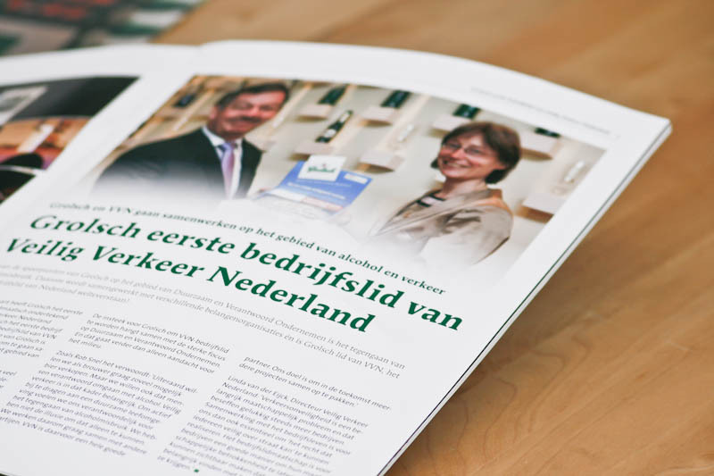 Koninklijke Grolsch Internal corporate magazine Pages makeup, photo postproduction, DTP 320x245 mm | 20 pages 2012 Van Eck Ontwerpers
