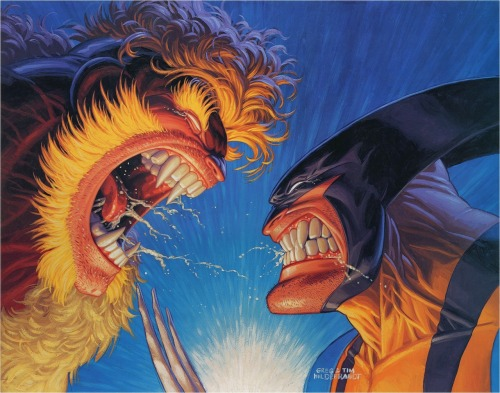 comicblah:   Wolverine vs. Sabretooth, pencils by Adam Kubert, paints by Tim & Greg Hildebrandt