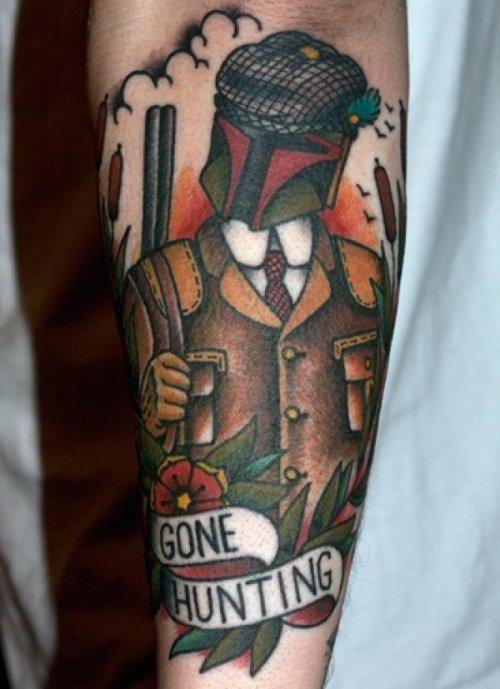 "dorkly:  Gentleman Boba Fett Tattoo ""A fine day for disintegrations!"""