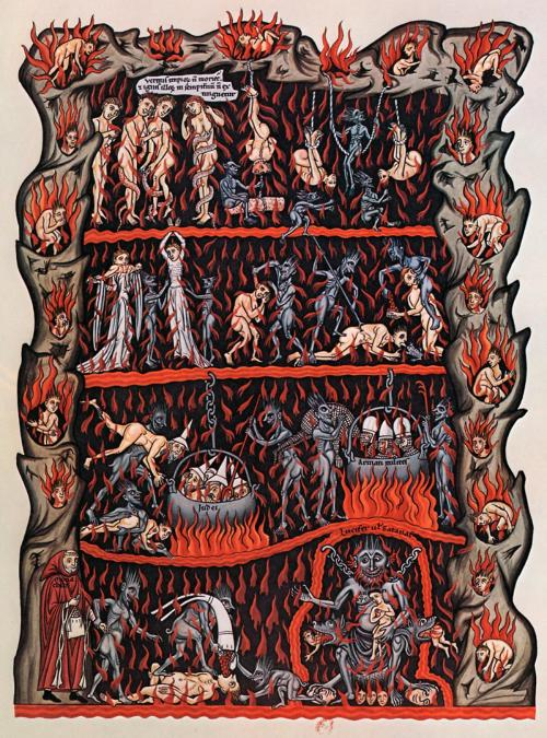 historical-nonfiction:  The entrance to hell, as illustrated by a 12th century nun, Herrad of Landsberg.  She is renowned for her illuminated manuscript Hortus deliciarum (Garden of Delights). It is considered the first encyclopedia written by a woman, and illustrated guide for nuns in training on the convent's practices and beliefs.