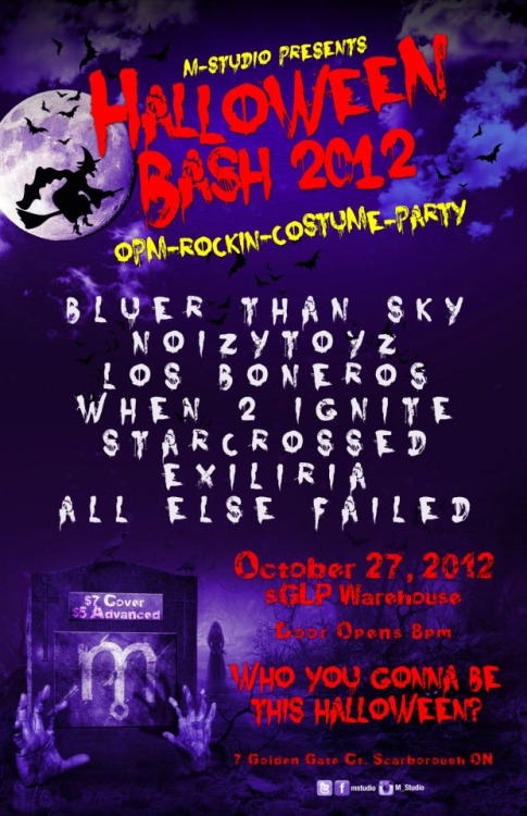 "October 27, 2012 - Halloween Bash 2012 ""opm.rockin.costume.party""@ the sglp warehouse, door opens @ 8pm $7 cover"