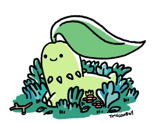 Here's a Chikorita i drew earlier today for a friend. Now I'm going to sleep, there will be a comic up sometime tomorrow/later today depending on your location relative to the sun. Happy Monday.