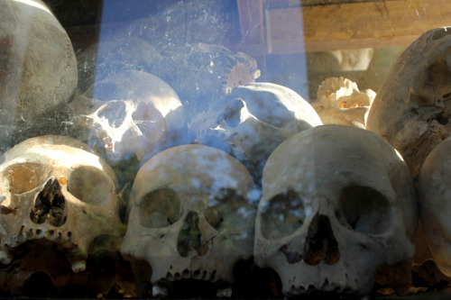 Skulls at Choeung Ek. The best known site of the Killing Fields. South of Phnom Penh, Cambodia.