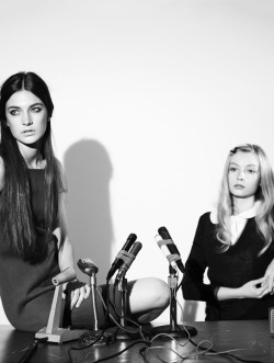 "beedonaldson:  Jacquelyn Jablonski and Aleksandra Tsyganenko in ""May '68"" by Jason Brownrigg for Ones2Watch"