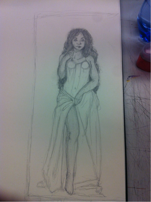 First preliminary sketch for my next class art project.   I kind of hate the paper I drew this on, but I like how the figure turned out.   I still need to pick the theme as well as the tarot cards to use.