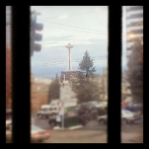 Today I work with a view from Seattle. (at Bauhaus Books & Coffee)