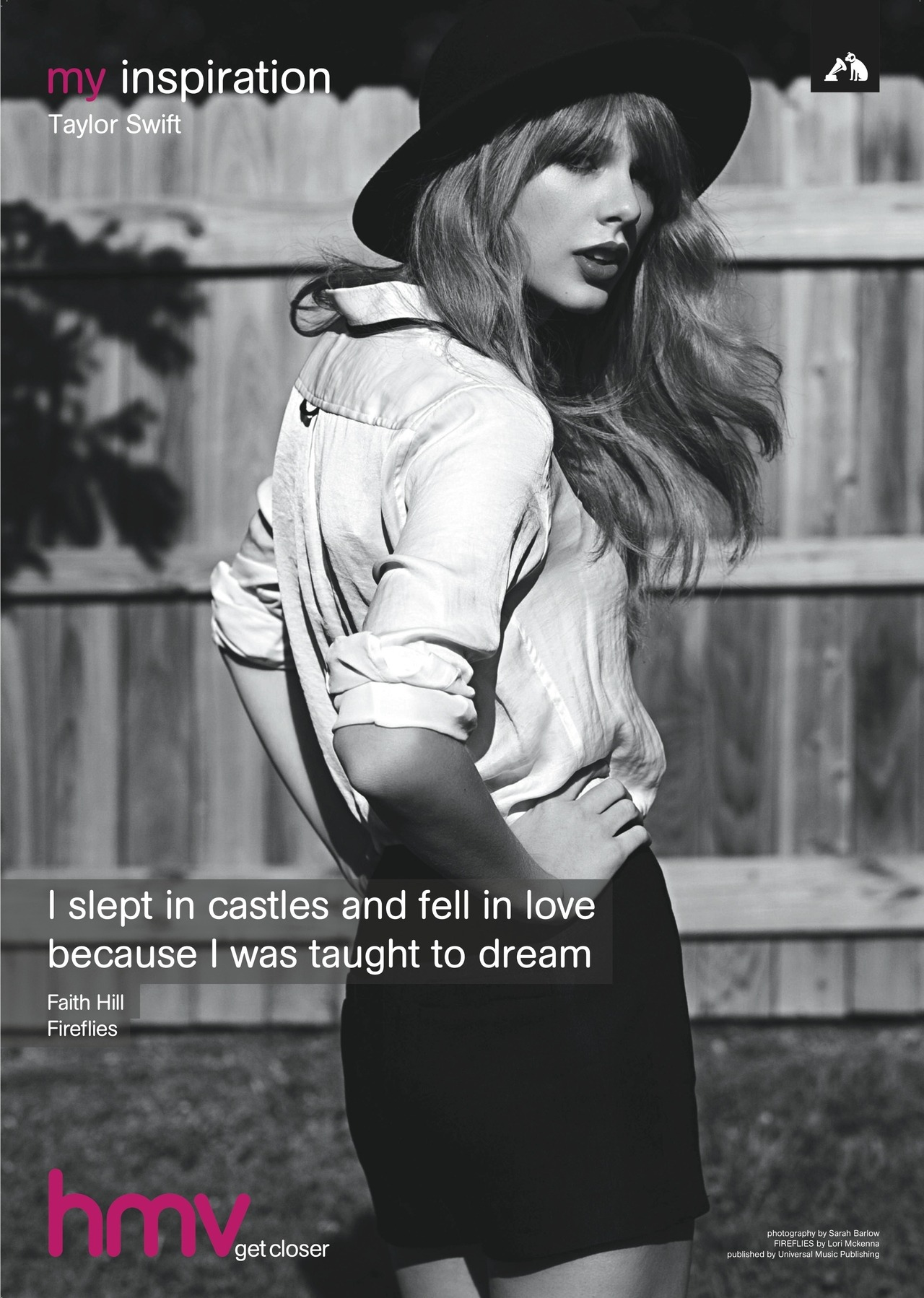 Taylor Swift - hmv my inspiration poster Taylor Swift chose a lyric from the track Fireflies by Faith Hill as her inspiration. Her new album RED was released today, and for one day only you can pick it up for just £8 in-store and online at hmv.com Over on twitter, we're giving away copies of her my inspiration poster - SIGNED by Taylor herself! Don't miss out! What's your favourite track from Taylor's new album?
