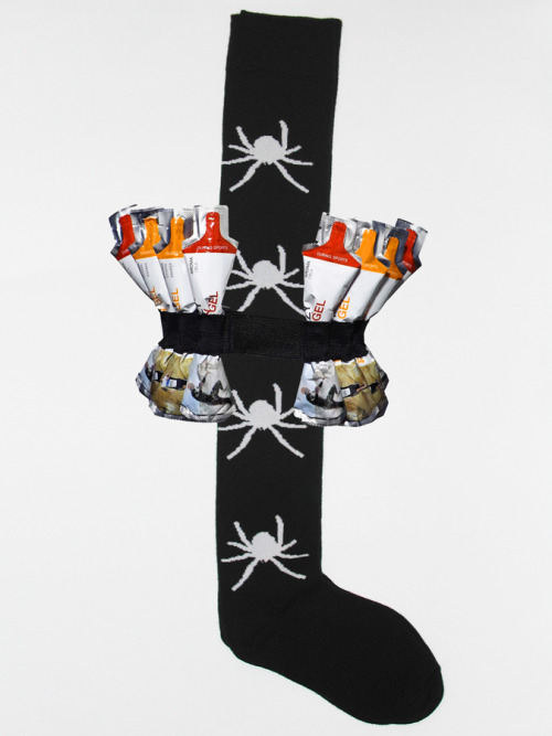 Single Spider Sock and Energy Gel, 2012 Sculpture @